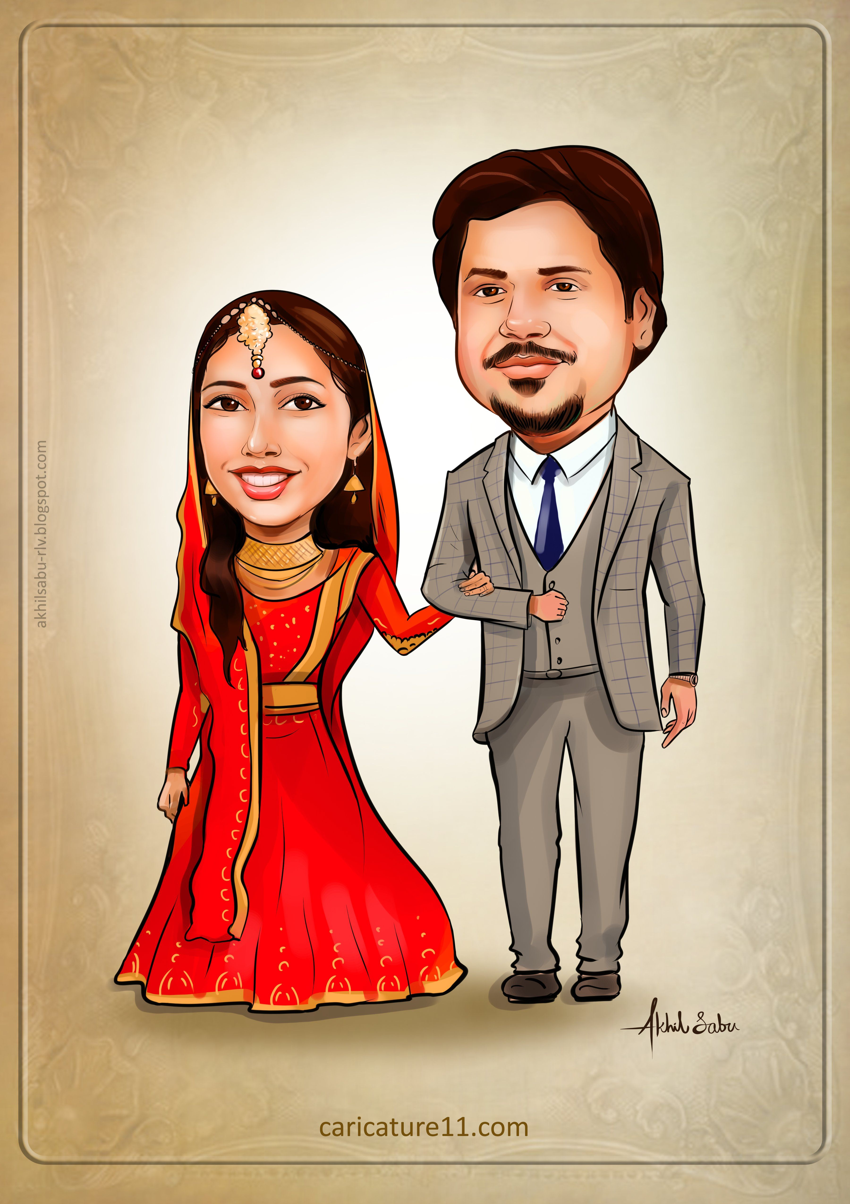 Muslim wedding caricature ,Nikkah. Indian wedding
