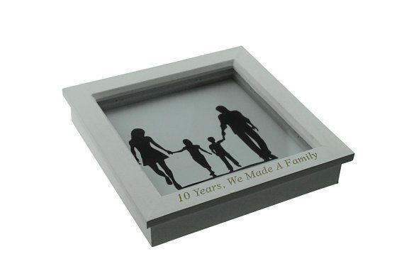 10 Year Anniversary We Made A Family Silhouette Box Frame 10th Anniversary Gift Idea Per 20th Anniversary Gifts 10th Anniversary Gifts