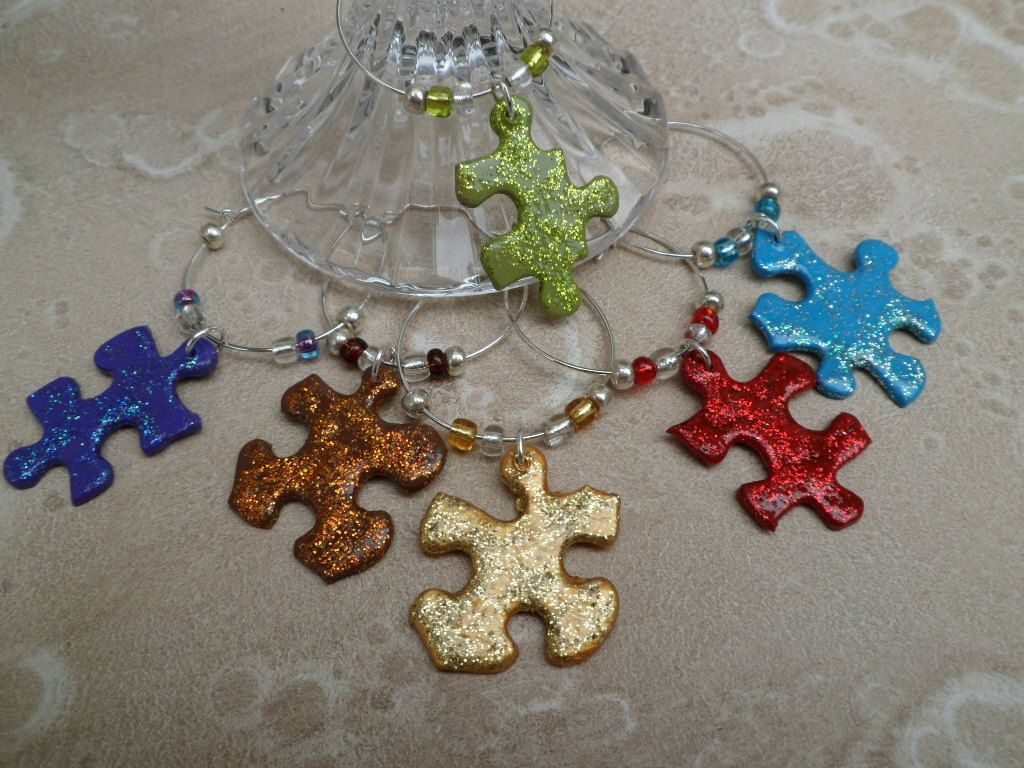 Wine Charms Upcycled Puzzle Pieces By Savardstudios On