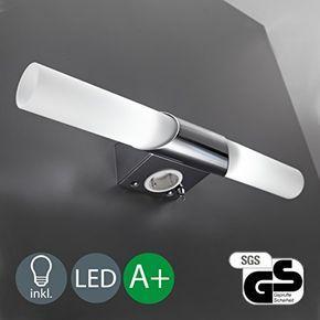 Led Applique Murale Et Plafonnier Pour Salle De Bain Avec 2 Lumieres Lampe Miroir Prise Blanc Chrome Spiegel Led Lampen