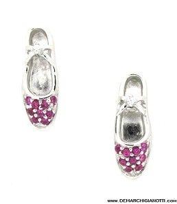 Tutù Gioielli orecchini in argento zaffiri bianchi e rossi modello srorg-scarpe www.demarchigianotti.com