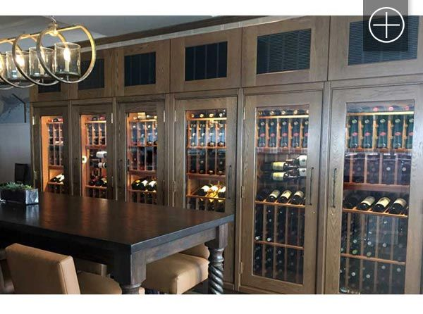 Custom Oak Chilled Wine Cabinets Cooled With Dual Zones To Store