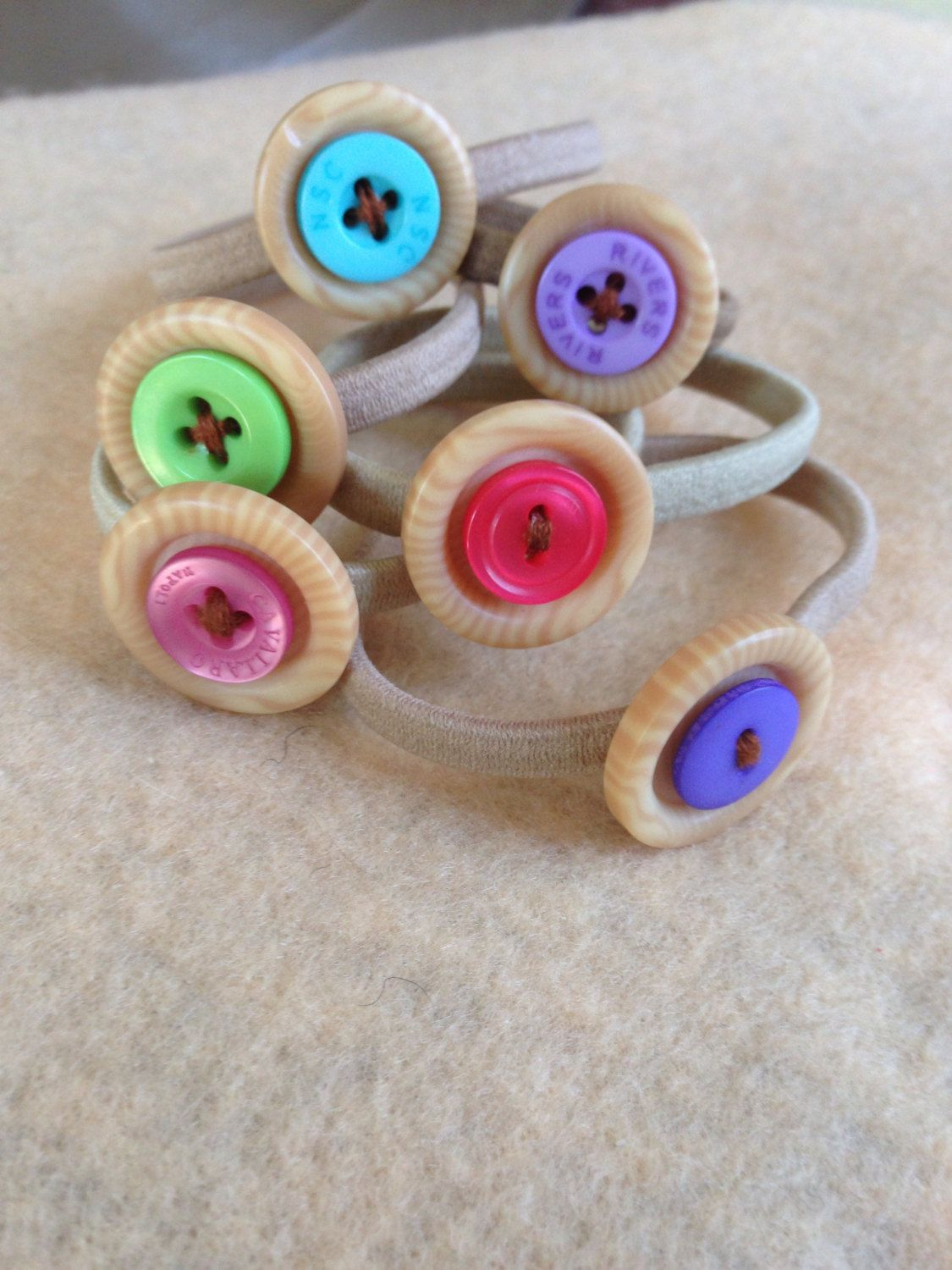 Hair bow button accessories - Hair Accessories Set Of 6 Black Hair Bands With Natural Bright Button Detailing