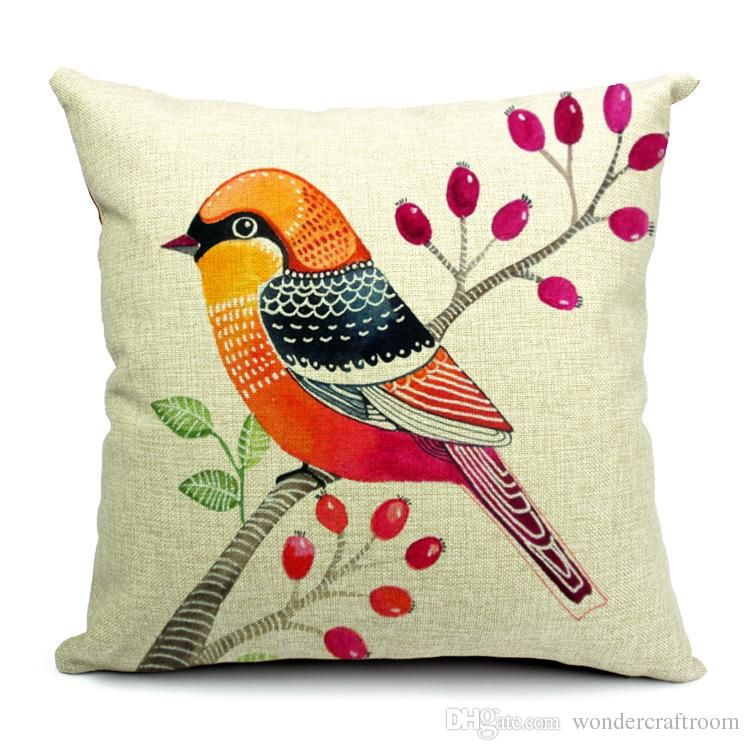Decorative Pillows With Bird Design : 6 Styles Hand Painting Birds Cushions Covers Pillowcase Bird Tree Cushion Cover Sofa Couch Throw ...