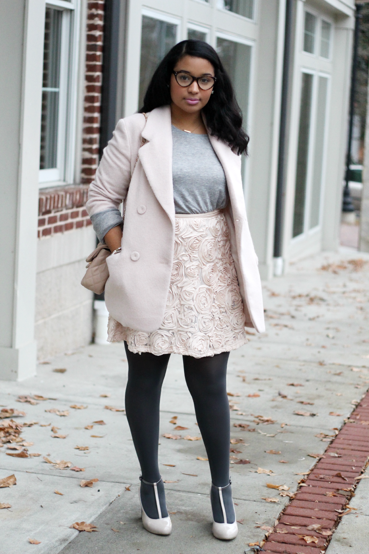 Pink and Gray Holiday Outfit