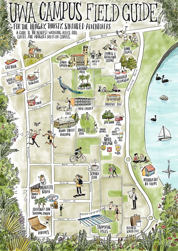 Jeffrey Phillips - UWA Campus Map showing some of the local cafes ...