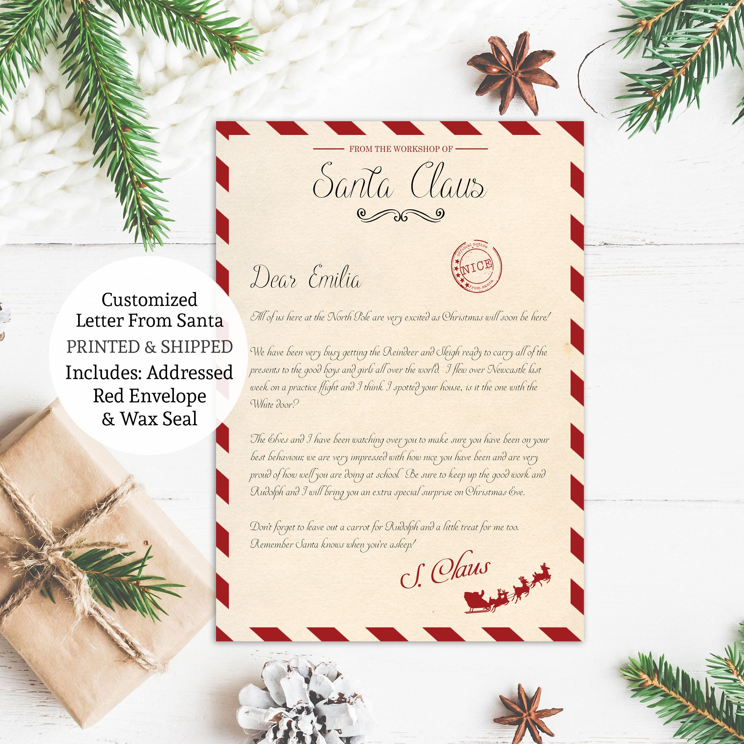 Personalized Letter From Santa Claus Christmas Santa Letter Etsy Personalized Letters From Santa Santa Letter Personalized Letters