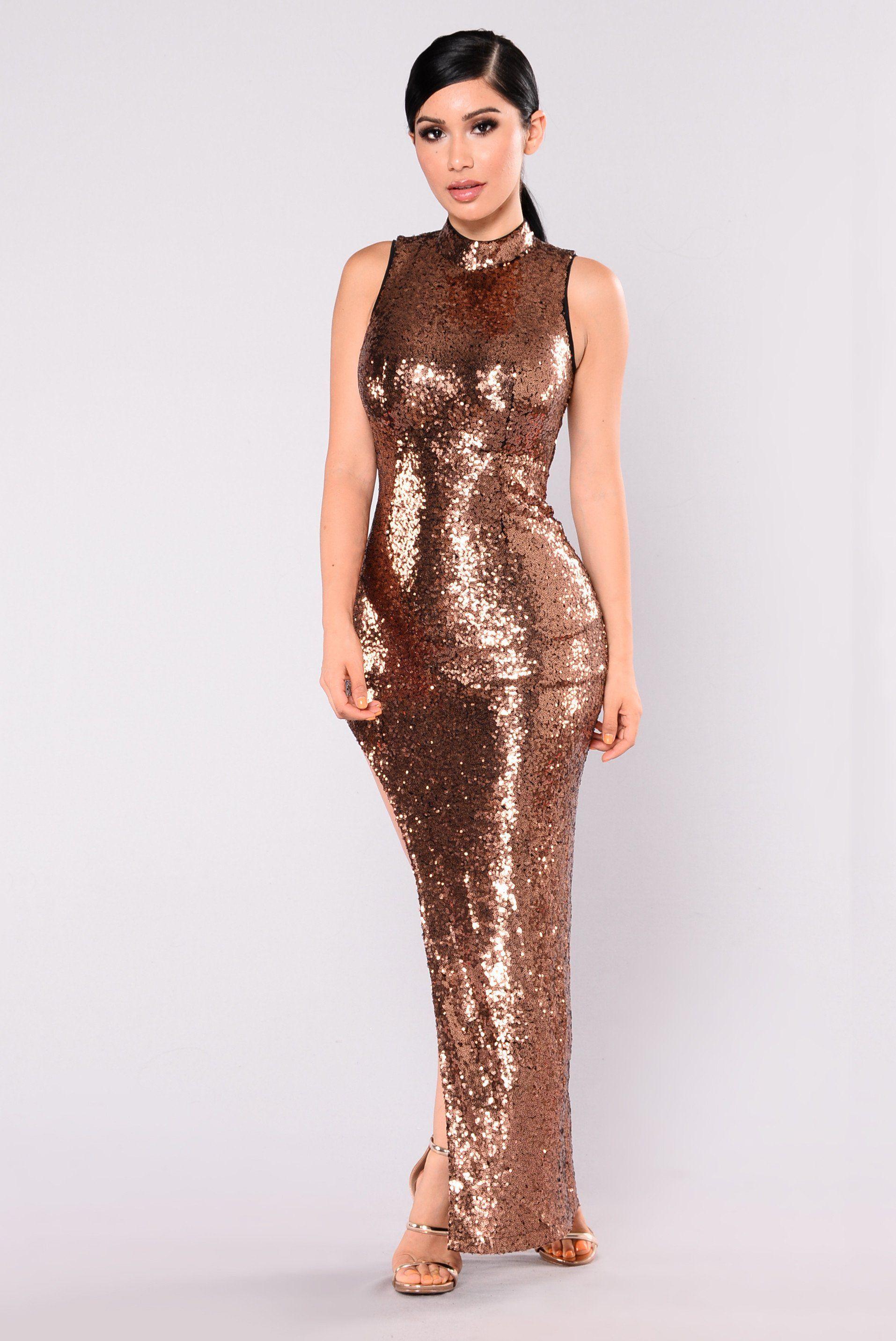 618731406ca Runway Walk Sequin Dress - Copper