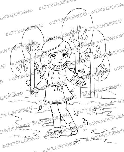 Digital Stamp Autumn is Here Girl, Digi Download, Fall Leaves ...