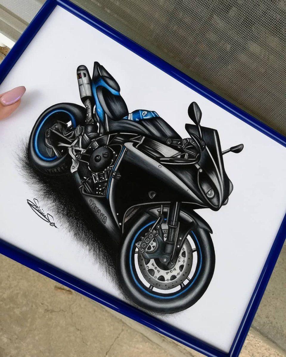 Yamaha R1 Drawing Motorcycle Art Painting Bike Drawing Drawings