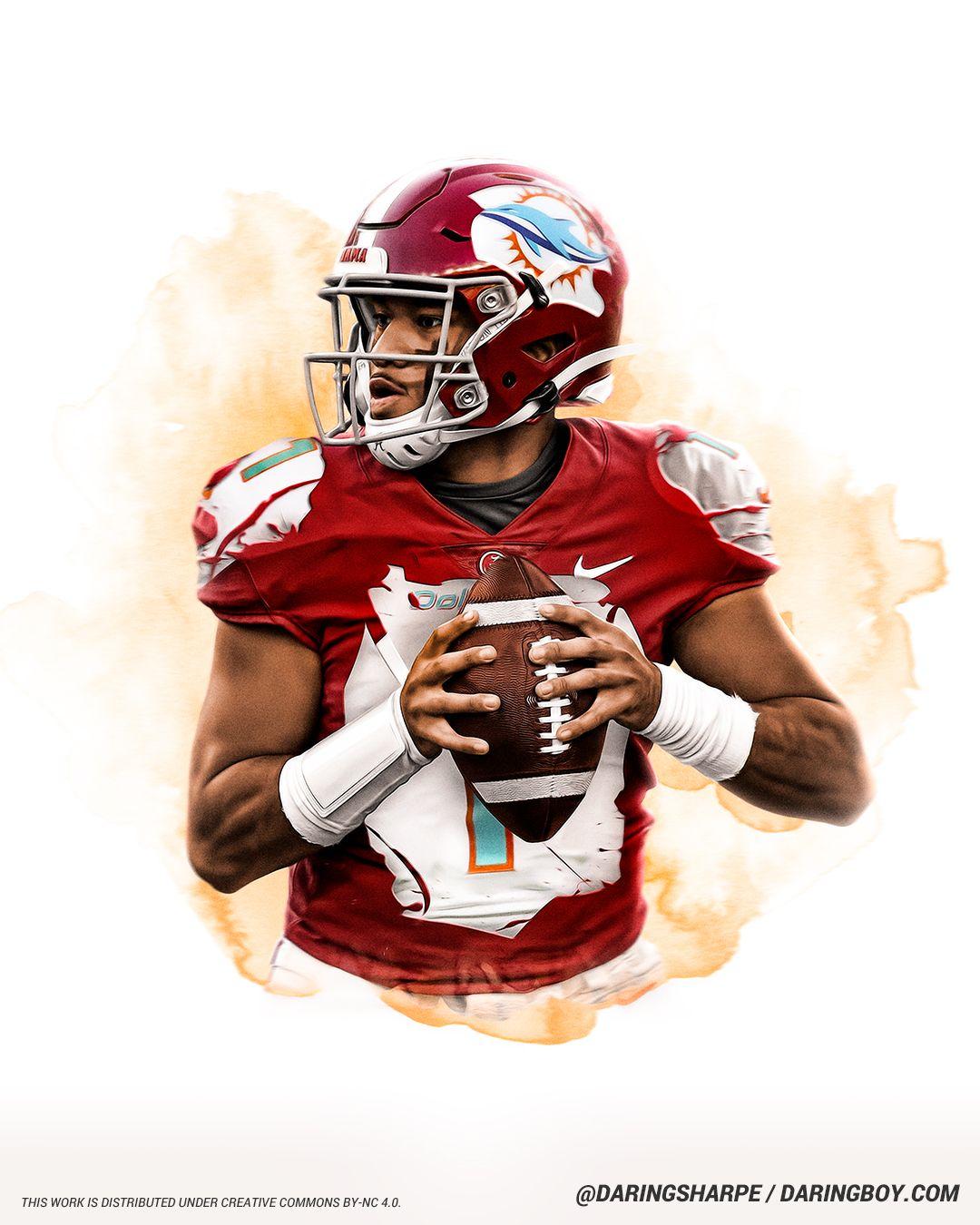 Tua Tagovailoa Miami Dolphins Alabama Crimson Tide In 2020 Miami Dolphins Football Nfl Football Art Crimson Tide Football