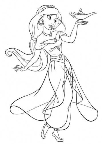 Walt Disney Coloring Pages - Princess Jasmine - Walt Disney ...