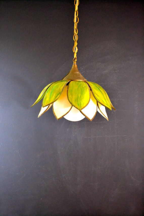 LARGE Green Glass Hanging Light Fixture Vintage Slag Tulip Style Stained Pendant