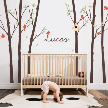 Tree Wall Decal With Leaves Birds U0026 Personalized Name   Simple Shapes Wall  Decals, Furniture
