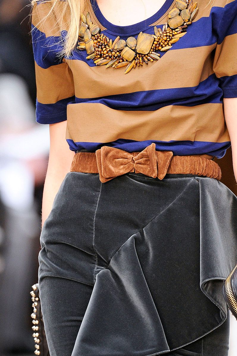 Burberry Prorsum- close up.  Again, while tough to see the full image, it looks like a simple skirt with added large panel. To get the drape, chose fabric wisely. Love the skirt, not so much the top.