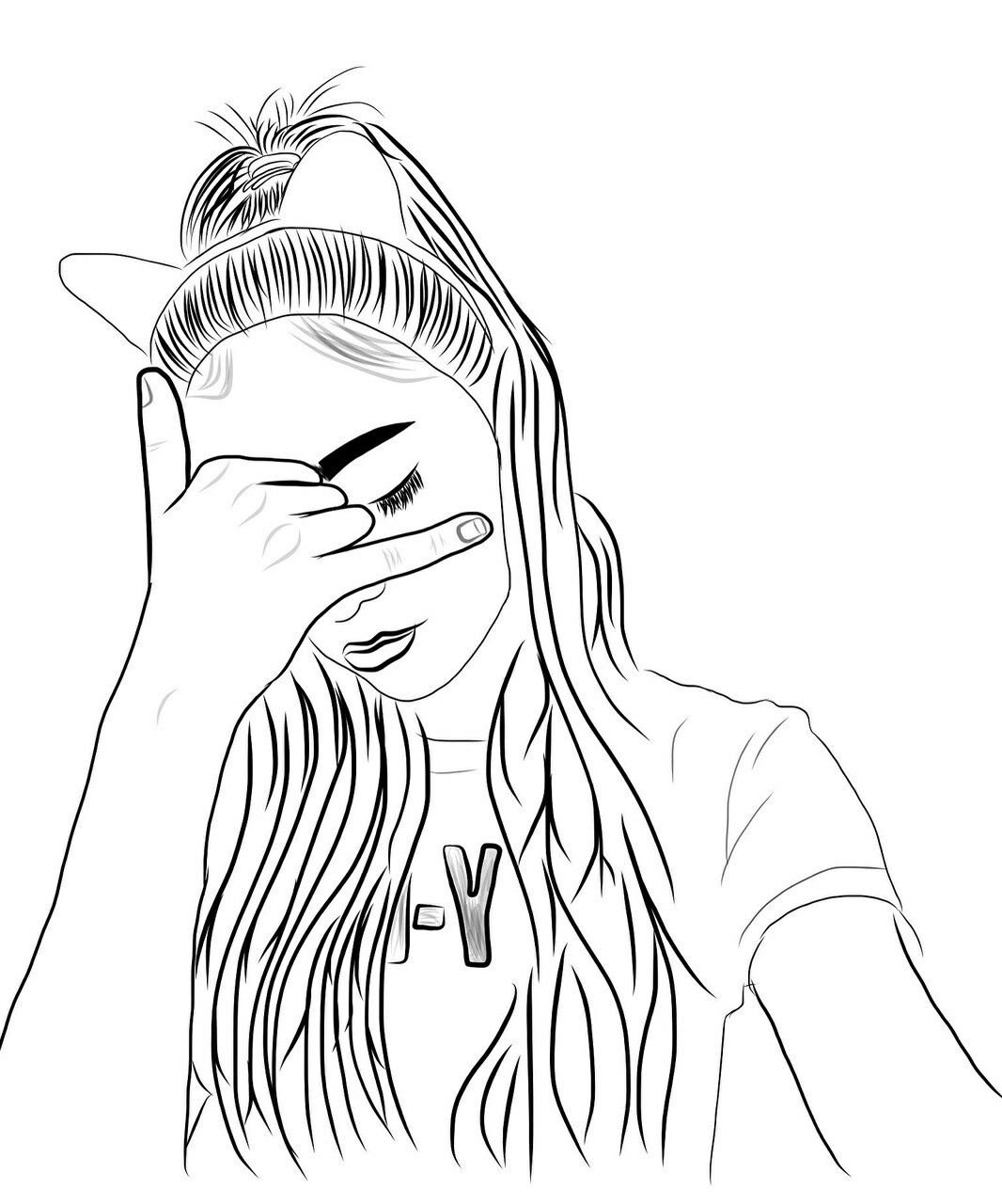 Pin de Aesthetics em outlines Menina tumblr desenho