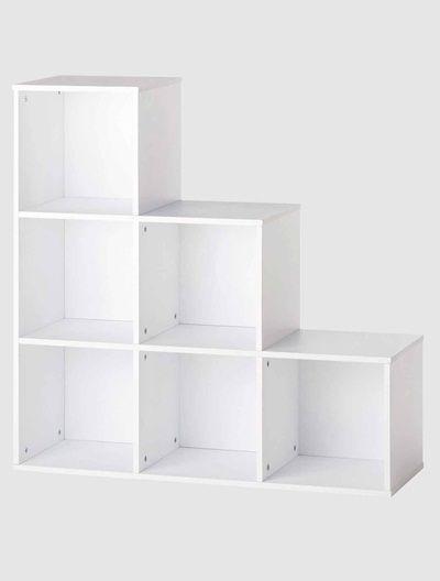 meuble de rangement 6 cases en escalier blanctaupe vertbaudet enfant