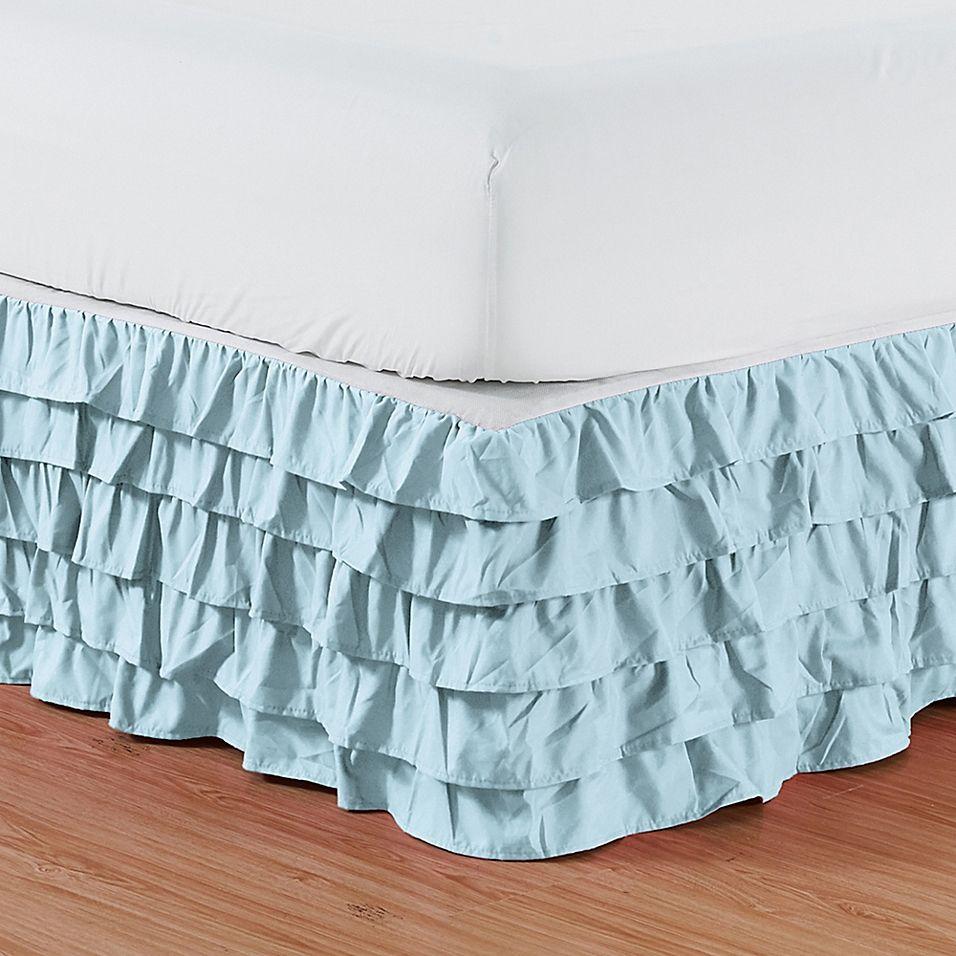Elegant Comfort Multi Ruffle California King Bed Skirt In Aqua