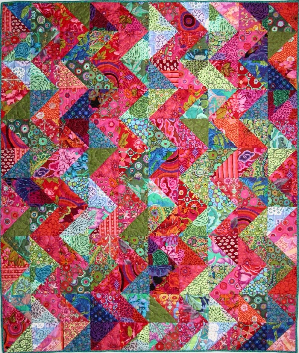 Exuberant Mix Of Colors And Patterns: Exuberant Color : Quilts Made With Triangles