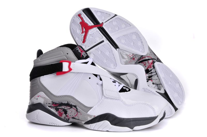Air Jordan Retro 8 White Grey Black Shoes