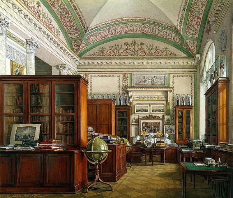 INTERIORS OF THE WINTER PALACE LIBRARY, BY GAU EDWARD PETROVICH