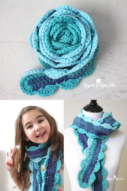 Skinny Scalloped Scarf Crochet Free Pattern Crocheted Crochet