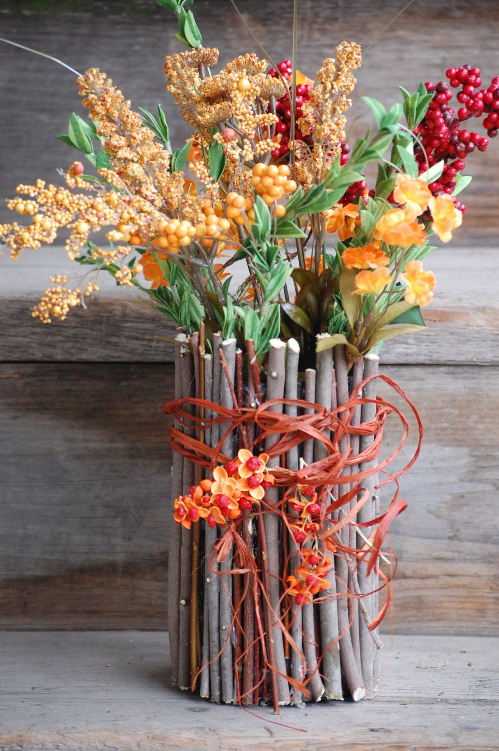Twig container natural wood stick vase camp decor