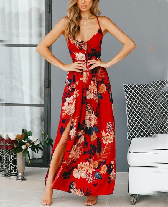 Red Floral Print Lace Up V-Neck Maxi Dresses. Lotus Lace Sleeveless Midi ... 435fcb9ba