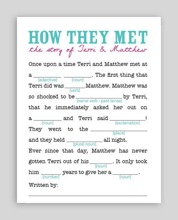 how they met wedding mad lib click on the picture to see all