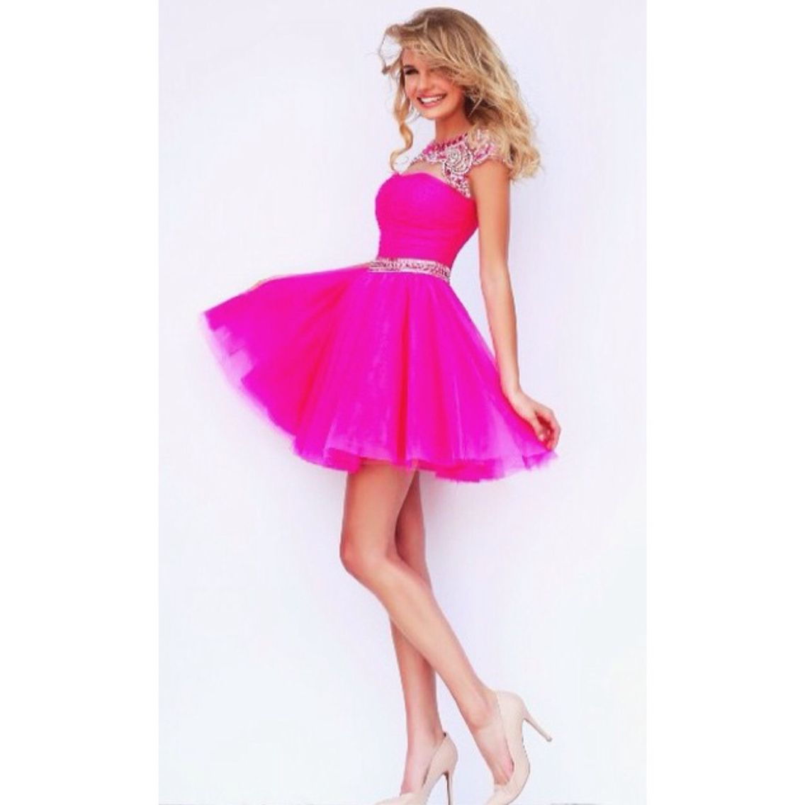 Short hot pink prom dress dresses pinterest hot pink prom and