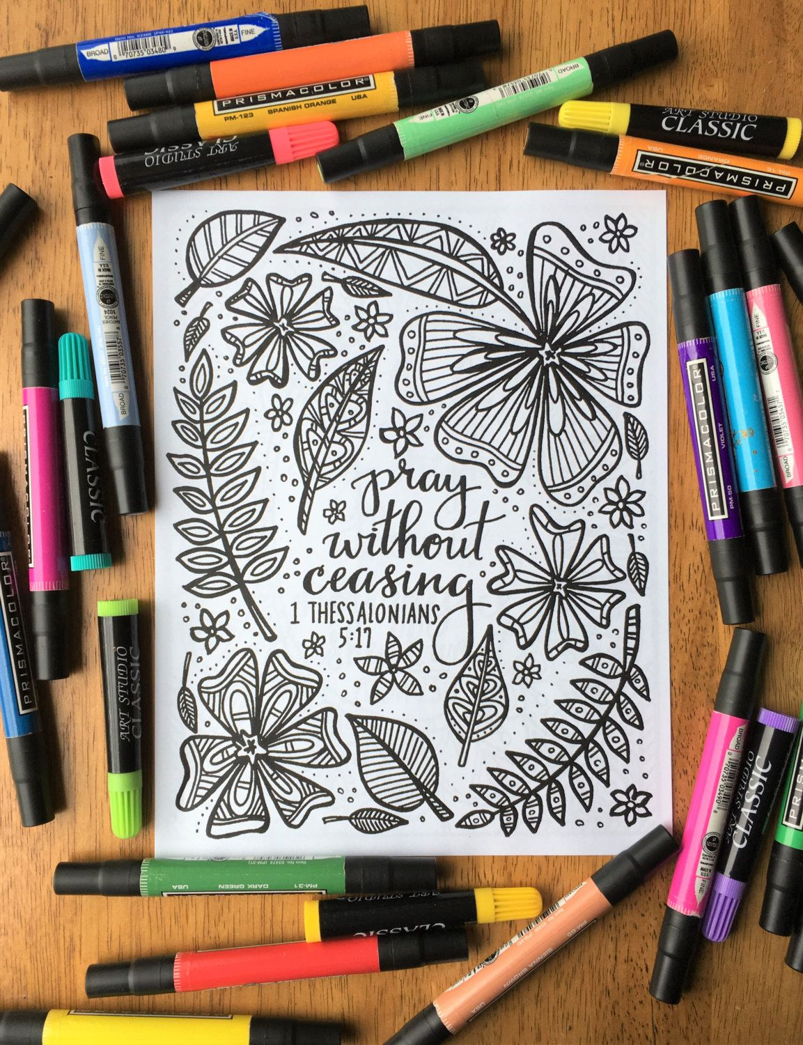 Adult Coloring Page Pray Without Ceasing By Thebirchandelm Adult