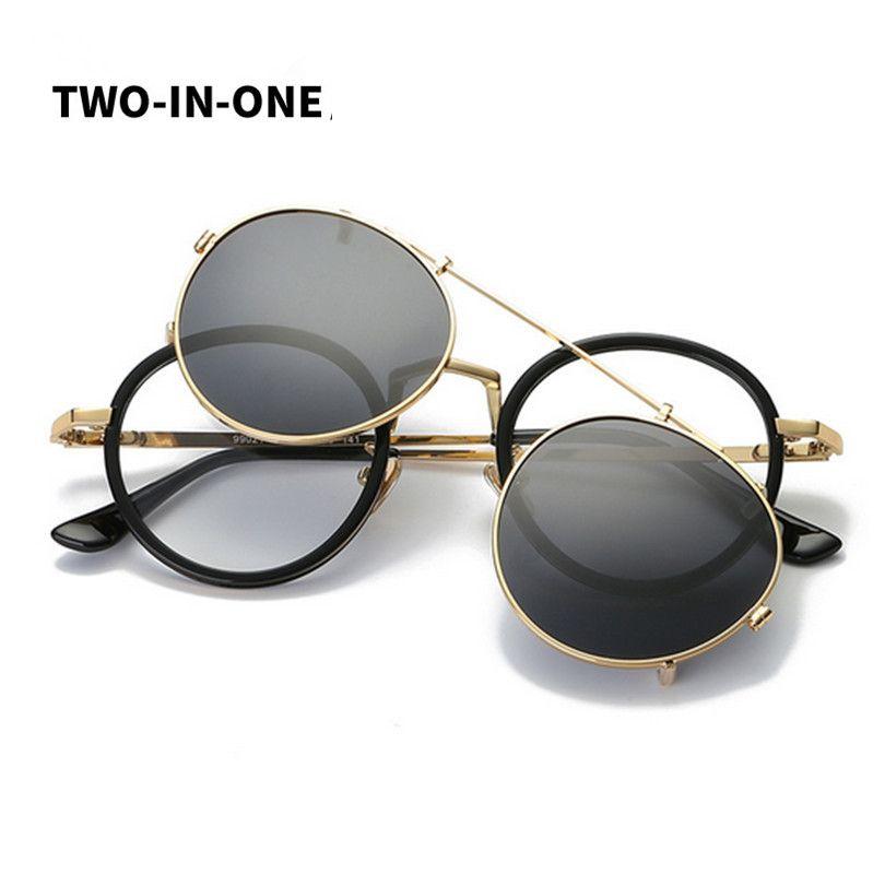 acb2551c607 Fashion Steampunk Sunglasses rock Men Sunglass Mirrored Polarized Clip on  rays Sunglasses Mirror round Glasses women