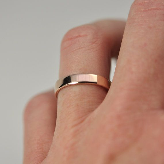 Wedding Ring Rose Gold 14k Smooth Texture By Seajewelry 431 00