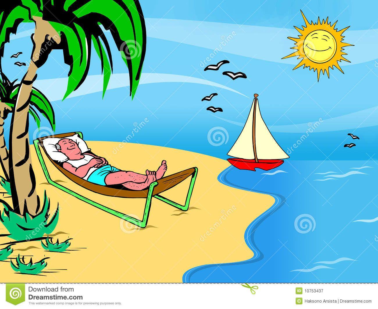 cartoon man on a beach holiday - Holiday Cartoon Images