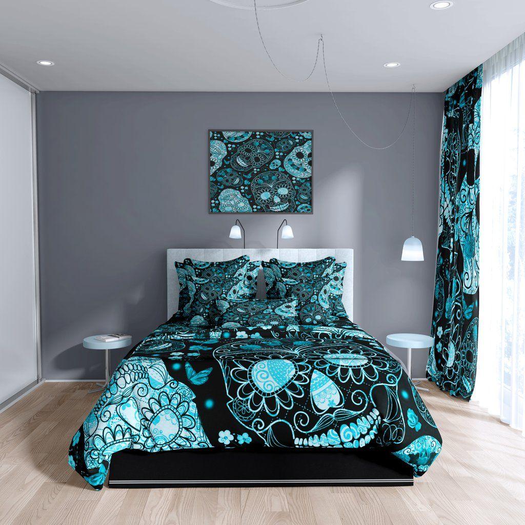 Black and Bright Blue Sugar Skull Pattern Bedding | Folk N ...
