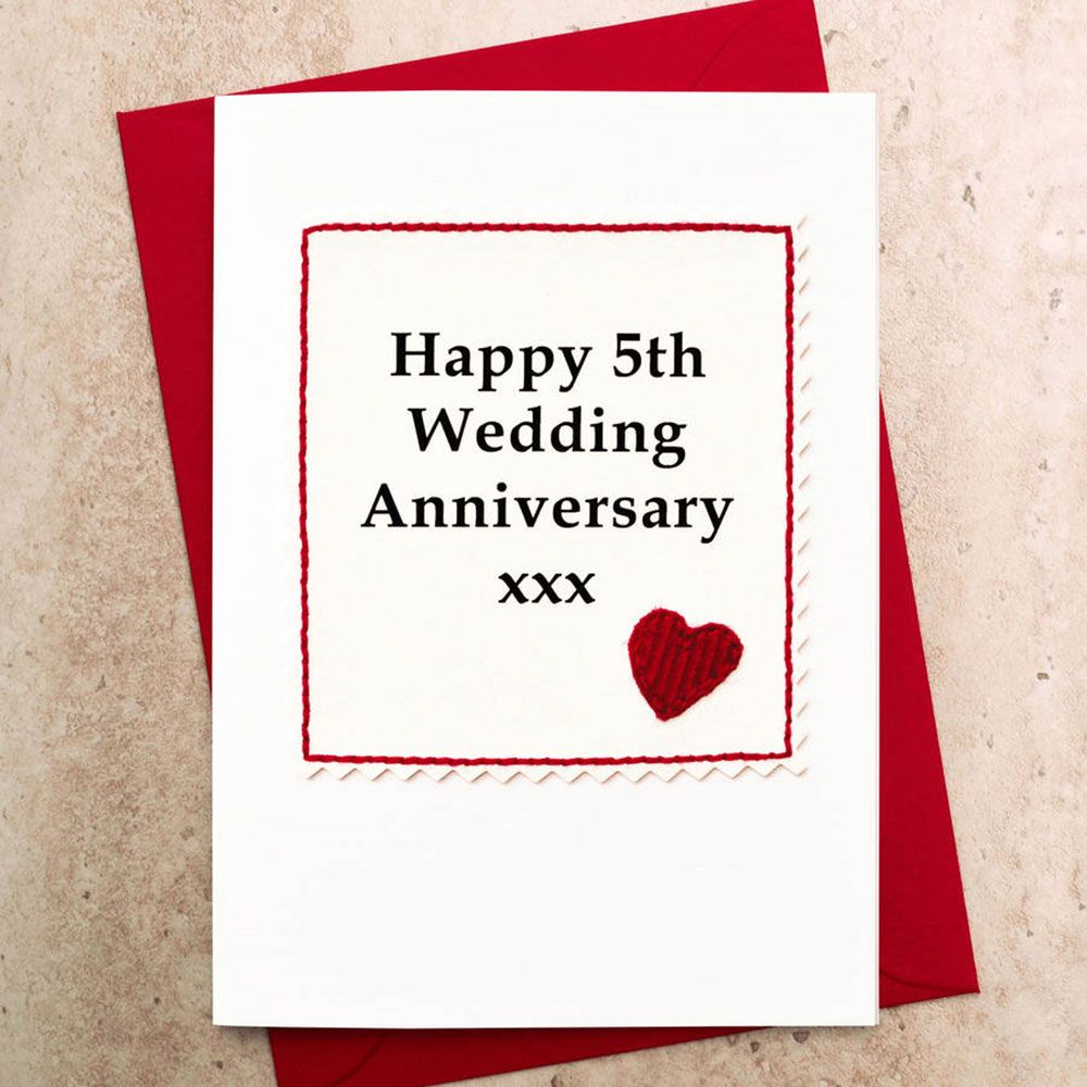 Greeting Card. Handmade 5th Wedding Anniversary Card With