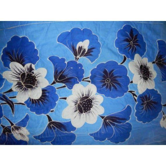 Bed Cover Lukis Besar Motif Bunga Biru Panjang 2 5meter Lebar 2meter Bahan Cotton Nyaman Dipakai Hangat Dan Sangat Berku Bunga Biru Bed Cover Lukisan