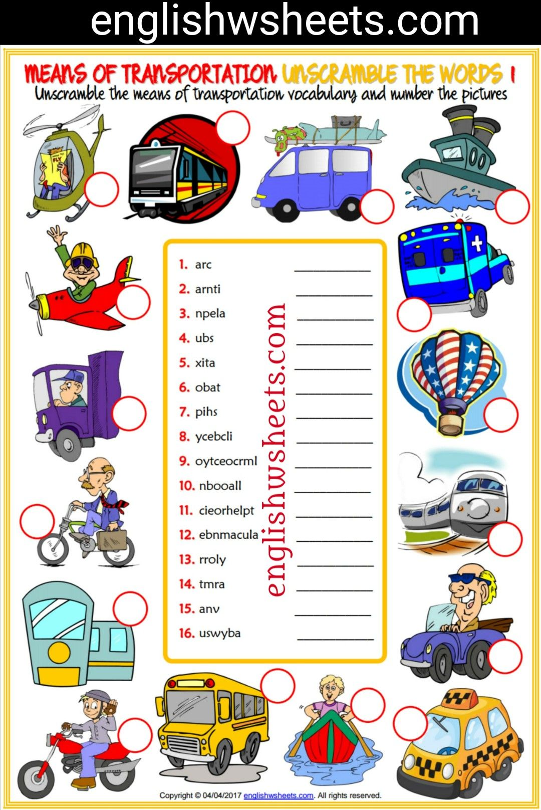 Means Of Transportation Esl Printable Unscramble The Words Worksheets For Kids Means