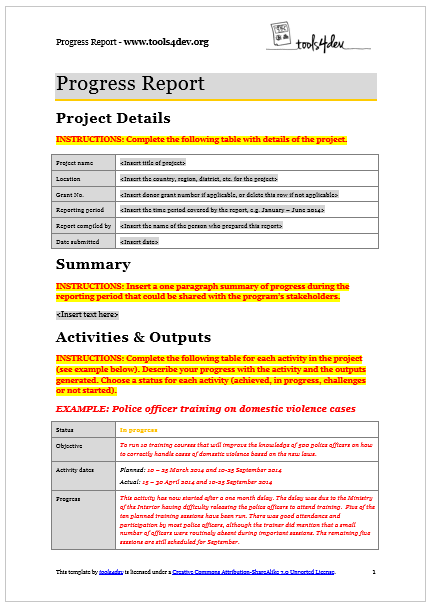 Progress Report Template  ToolsDev  Monitoring And Evaluation