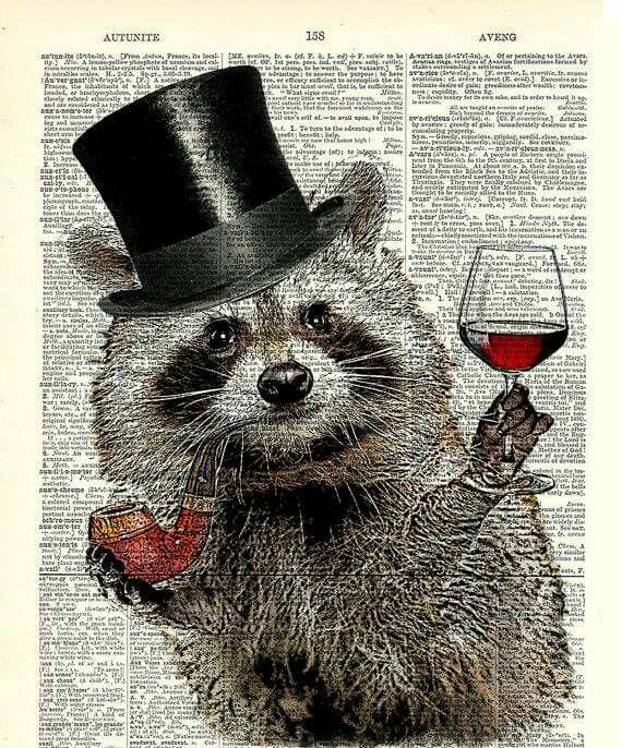 Raccoon Tea Time Print Book Page Kitchen Wall Decor Steampunk Animals in Top Hat Poster