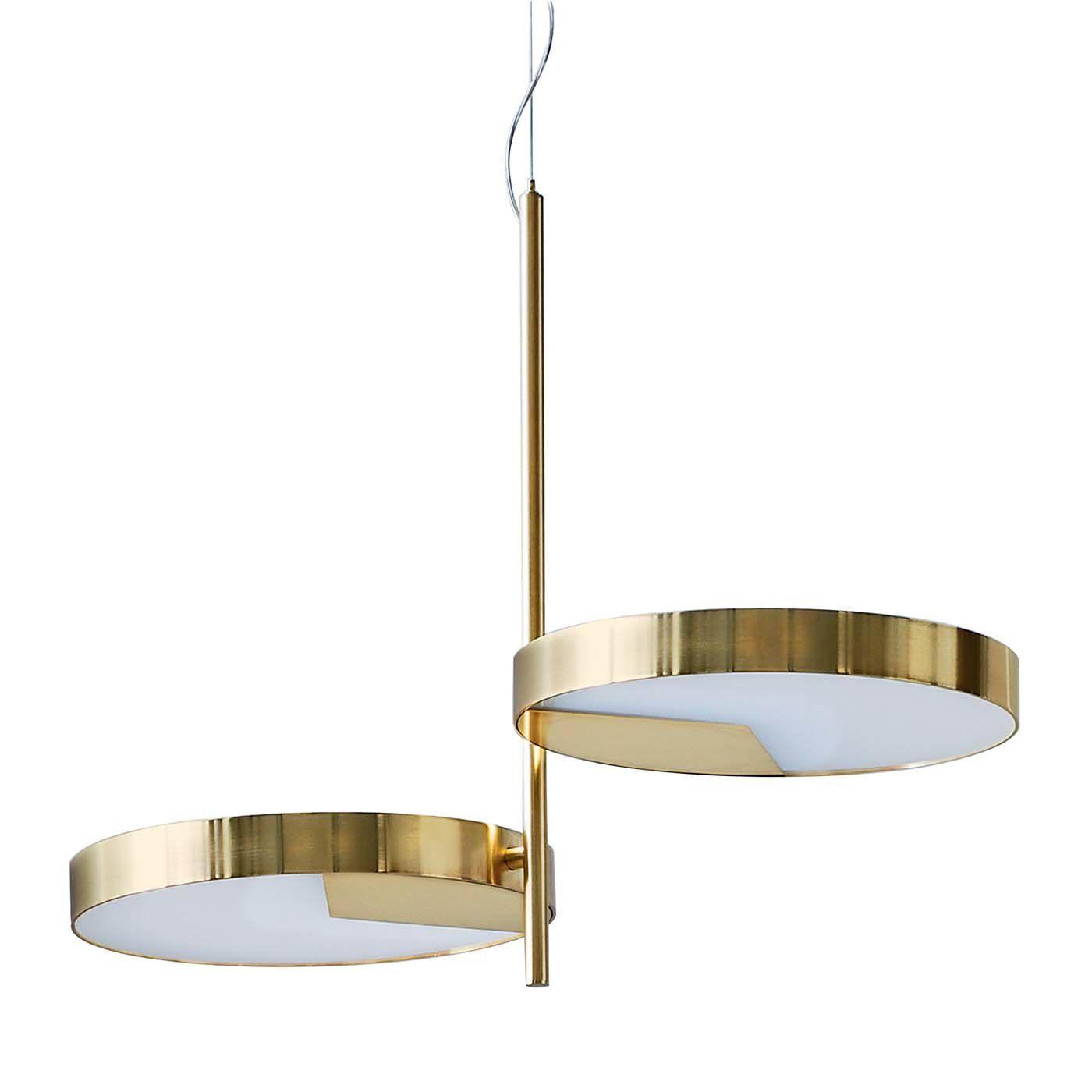 Moonlight 2 Light Brass Ceiling Lamp By Matteo Zorzenoni Ceiling