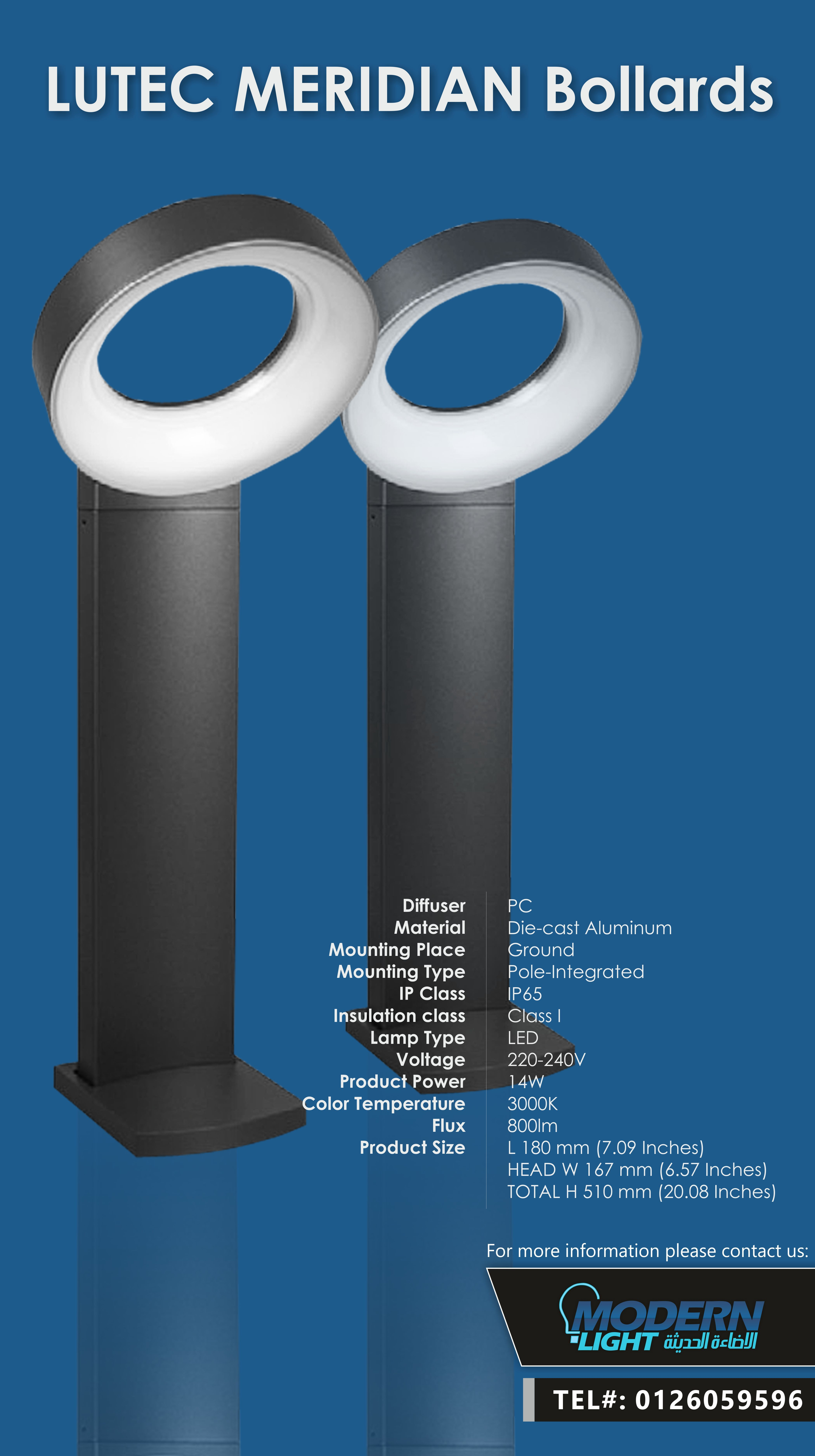 Led Leuchtbänder Lutec Led Meridian Bollard Only At Modernlight Jeddah Tel