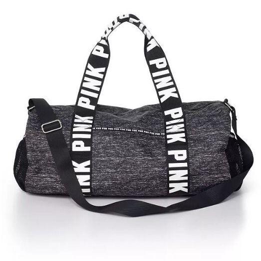 3956b947e9d9cf Victoria's Secret PINK Duffle Bag Gym Overnight Luggage Suitcase Black Marl  #VictoriasSecretPINK