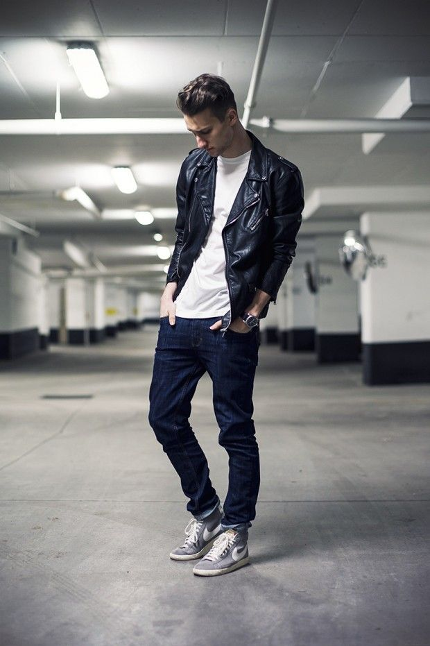 Men's Black Leather Biker Jacket, White Crew-neck T-shirt, Navy Jeans, Grey  High Top Sneakers