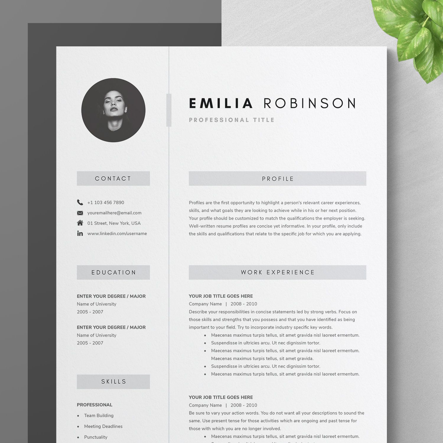Resume Template For Word And Pages Cv Template Cover Etsy Resume Template Cover Letter Template One Page Resume Template