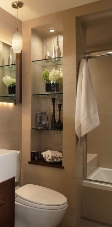 With creative small bathroom remodel ideas even the tiniest washroom can be as comfortable as a lounge. Perfect-sized sink and countertop\u2026 & With creative small bathroom remodel ideas even the tiniest ...