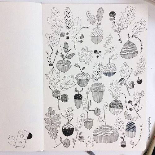 acorn and leaf doodles