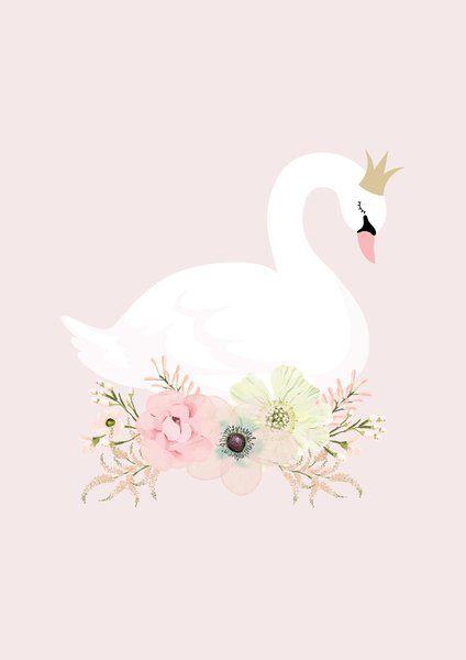 swan princess print schw ne kinderzimmer und karten selber machen. Black Bedroom Furniture Sets. Home Design Ideas