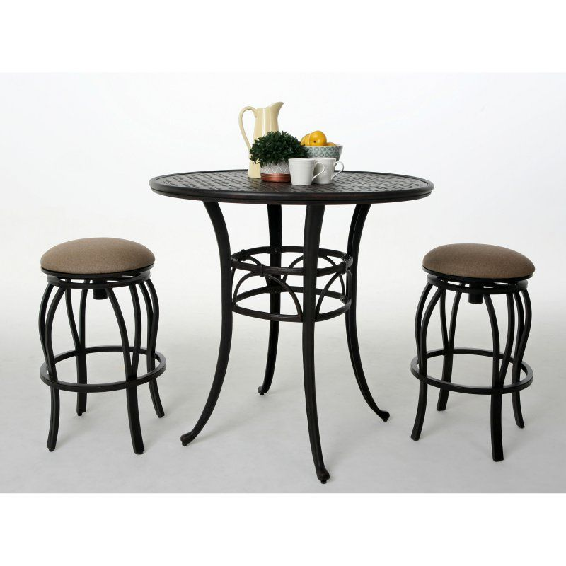 Outdoor Impacterra Andalusia 3 Piece Patio Pub Table Set with Backless Stools - PAST1008-1