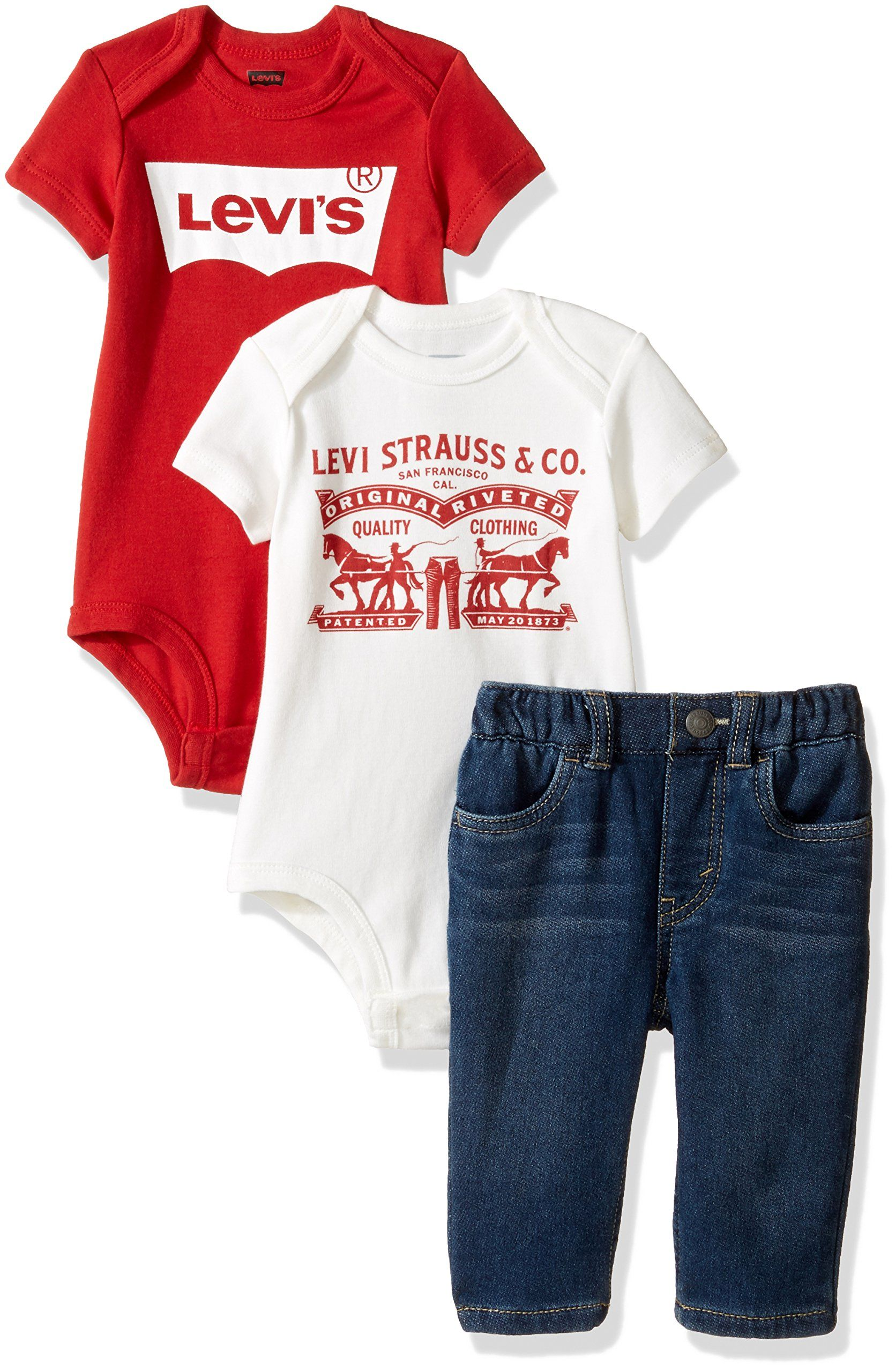 bd2cd9be44 Levis Baby Boys Bodysuits and Knit Slim Fit Jeans 3Piece Gift Box Set  Waverly 0/6 Months -- You can get additional details at the image link.